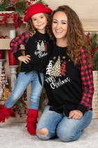 Familienpassendes, kariertes, weihnachtlich bedrucktes, langärmliges Oberteil mit Krawattenknoten für Mädchen