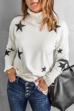 Suéter branco com estampa estrela de manga caída de gola alta