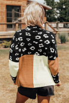 Suéter Leopardo Colorblock com gola simulada