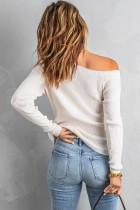 Blusa de malha bege com um ombro de manga comprida