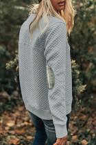Gestepptes Langarm-Sweatshirt mit Karomuster und Ellbogen-Patch