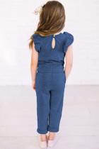 Blauer Jumpsuit für kleine Mädchen mit gekräuselten Schultern und Taschen
