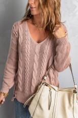 Vaaleanpunaiset rakkauskirjeet Cable Knit Lace Up villapaita