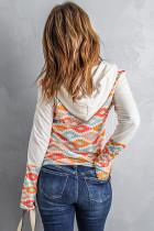 Aztec Print Color Block Hoodie mit halbem Reißverschluss und Kängurutasche