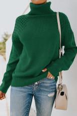 Pulôver de malha verde com gola alta