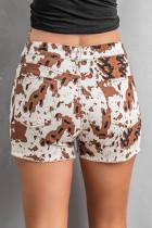 Brown Cow Print Denim Shorts mit Taschen