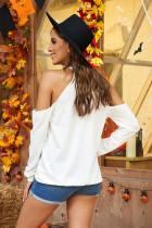 T-shirt bianca a maniche lunghe con spalle scoperte Hollow