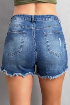 Pantaloncini di jeans blu scuro con orlo sfilacciato