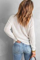 Valkoinen ontto pudotettava olkapää neulepusero