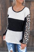 Top a maniche lunghe colorblock con stampa leopardata