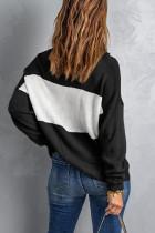 Sweater Rajutan Longgar Turtleneck Blok Warna Hitam