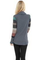 Top in maglia con collo ad anello e maniche a righe multicolori