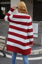 Cardigan in maglia con motivo a blocchi di colore rosso aperto sul davanti