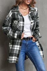 Cappotto camicia boyfriend con stampa a griglia nera