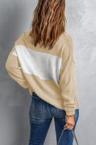 Χακί Colorblock Turtleneck Χαλαρό Πλεκτό πουλόβερ