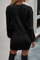 Abito maglione lavorato a maglia a nido d'ape con collo dentellato abbottonato nero