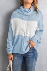 블루 컬러블록 터틀넥 루즈한 니트 스웨터