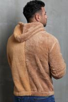 Brown Colorblock Fleece Herren Hoodie
