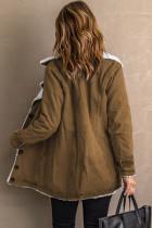 Khaki -käänne kauluspainike Fleece -takki