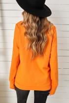 Felpa arancione con stampa zucca leopardata di Halloween