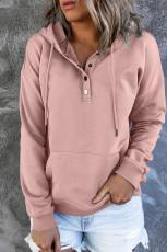 Vaaleanpunainen Snap Button -huppari, jossa tasku