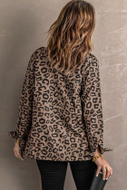 Ruskea käänne kaulus vetoketju kiristysnauha Leopard takki