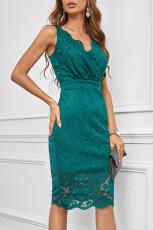 Groene kanten mouwloze bodycon midi-jurk met diepe V-hals