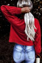 Punainen juhlava kuvioitu paksu villapaita