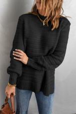 Musta yksivärinen jalusta kaulus kuvioitu villapaita