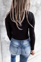 Schwarzes, geripptes, schmal geschnittenes, langärmliges Strickoberteil mit Schnürung