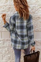 슬릿이 있는 그레이 오버사이즈 라운드 헴 체크 무늬 셔츠