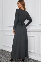 블랙 V넥 배트윙 슬리브 맥시 드레스