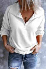 Valkoinen turn-down kaulus pitkähihainen vetoketjullinen fleece villapaita