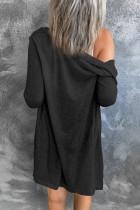 Musta yksivärinen avonaiset napit-neuletakki