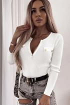 Weißes, geripptes Langarmshirt mit Reißverschluss