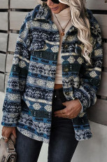 Sininen Tribal Print Pocket -napillinen Sherpa -takki