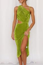 لباس میدی غلاف بدون آستین مخمل سبز