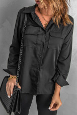 Siyah Devirme Yaka Cepli Düğmeli Gömlek