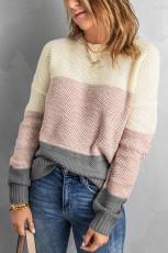 Donkergrijze colour-blocked sweater met structuurstructuur