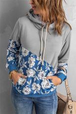 Grijze hoodie met geplooide halslijn en col