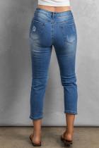 Sky Blue vervagen noodlijdende gaten Crop Jeans