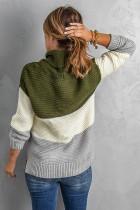 Groene coltrui colourblock pullover sweater