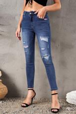 Azteekse slim-fit jeans met gescheurde patch