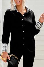 Zwart geruit overhemd met omgeslagen kraag en knopen