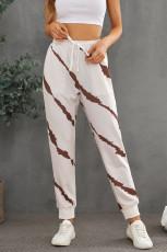 Casual tie-dyed elastische taillebroek met trekkoord