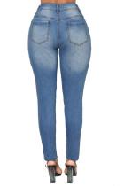 Lichtblauwe Denim Distressed Skinny Jeans