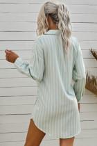 Çizgili Kravat Önü Düğmeli Gömlek Tunik Elbise