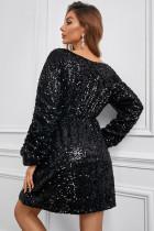 Siyah Uzun Kollu Pullu Mini Elbise