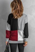 Kırmızı Bloklu Yuvarlak Yaka Uzun Kollu Kazak Sweatshirt