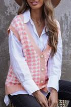 Roze vest met houndstooth-vest